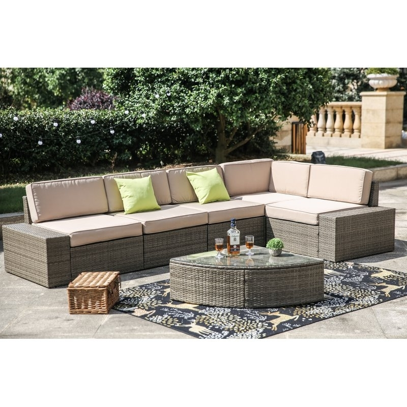 Brayden Studio Pierceton 6 Piece Rattan Sectional Set With Cushions Within Moraga Barrel Coffee Tables (Image 9 of 40)