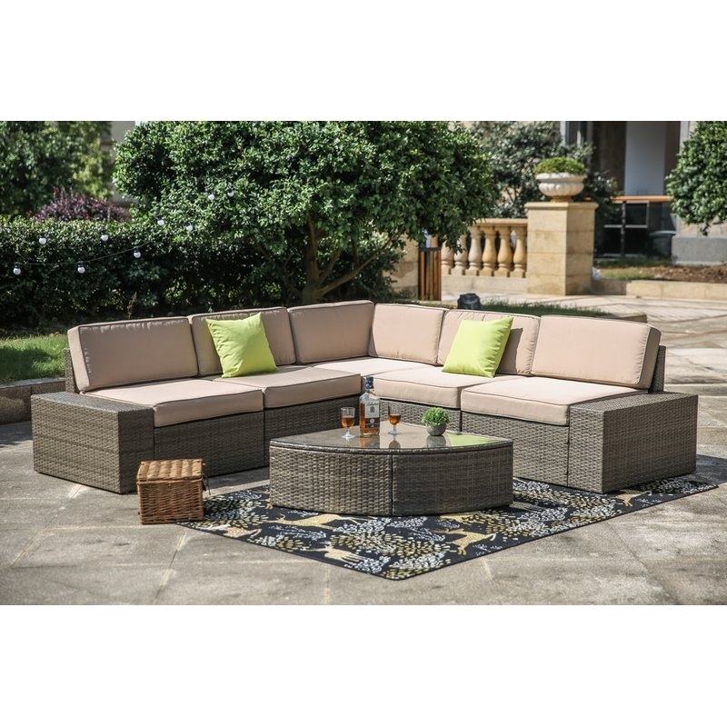 Brayden Studio Pierceton 6 Piece Rattan Sectional Set With Cushions Within Moraga Barrel Coffee Tables (Image 8 of 40)