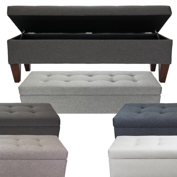 Brooke Corona Fabric/wood 10 Button Tufted Long Storage Bench – Free Throughout Jaxon Grey Lift Top Cocktail Tables (Image 4 of 40)