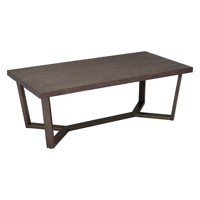 Brooklyn Modern Coffee Table Gray Oak & Antique Brass Throughout Antique Brass Coffee Tables (Image 10 of 40)