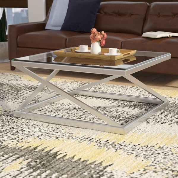 Brushed Nickel Coffee Table | Wayfair Intended For Suspend Ii Marble And Wood Coffee Tables (Image 4 of 40)