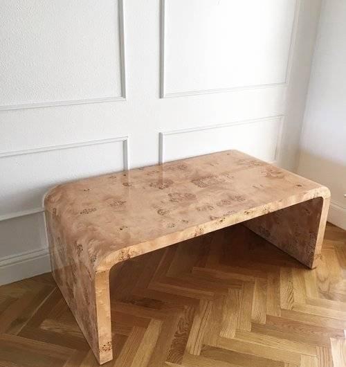 Burl Wood Coffee Table Unique Ceh Label Burlwood Waterfall Coffee For Oslo Burl Wood Veneer Coffee Tables (Image 8 of 40)