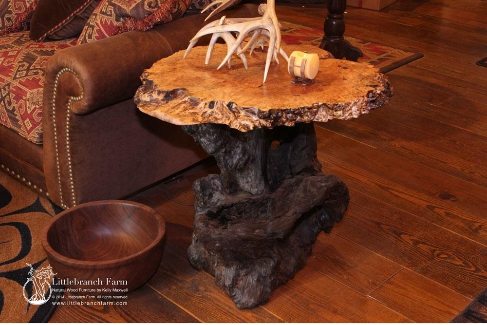Burl Wood End Table | Goizuetabbarec Intended For Oslo Burl Wood Veneer Coffee Tables (Image 9 of 40)