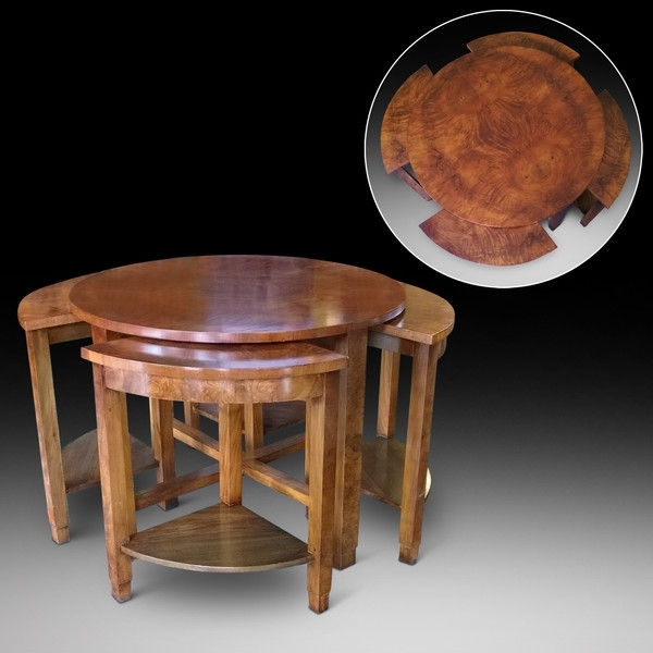 Burr Walnut Art Deco Nest Of 5 Coffee Tables (1925 To 1938 United Inside Antiqued Art Deco Coffee Tables (Image 23 of 40)
