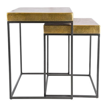 Buy Aamara Cube Side Tables – Set Of 2 – Antique Brass | Amara Intended For Brass Iron Cube Tables (Image 2 of 40)