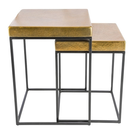 Buy Aamara Cube Side Tables – Set Of 2 – Antique Brass | Amara Pertaining To Brass Iron Cube Tables (Image 3 of 40)