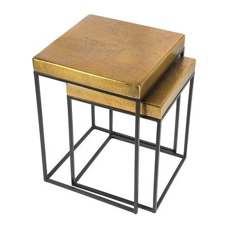 Buy Aamara Cube Side Tables – Set Of 2 – Antique Brass | Amara With Brass Iron Cube Tables (Image 4 of 40)