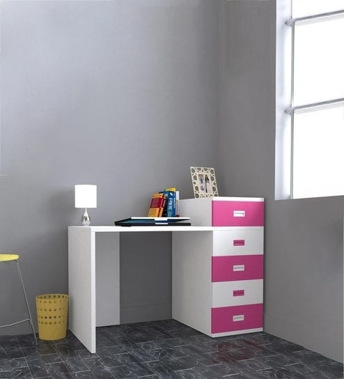 Buy Abby Study Table With Drawers – Iii In Pink & White Colour Throughout Abby Cocktail Tables (View 35 of 40)