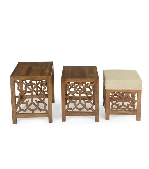 Buy Batik Nest Table Set Of 3 With Pouffe @homenilkamal, Cherry Pertaining To Batik Coffee Tables (View 18 of 40)