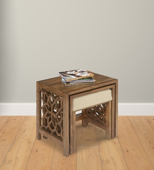 Buy Batik Set Of Tables With Pouffe In Cherry Finish@home Online With Regard To Batik Coffee Tables (View 9 of 40)