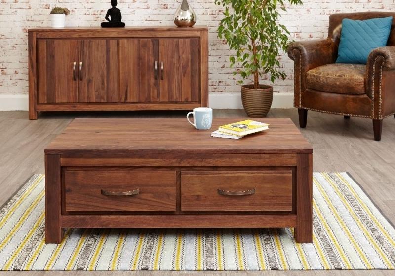 Buy Baumhaus Mayan Walnut 4 Drawer Storage Coffee Table Online – Cfs Uk In Walnut 4 Drawer Coffee Tables (View 2 of 40)