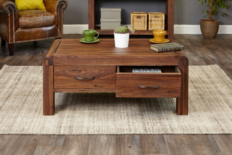 Buy Baumhaus Shiro Walnut 4 Drawer Storage Coffee Table Online – Cfs Uk With Walnut 4 Drawer Coffee Tables (View 6 of 40)