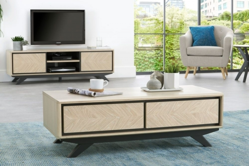Buy Bentley Designs Brunel Chalk Oak And Gunmetal 2 Drawer Storage With Regard To Gunmetal Coffee Tables (View 40 of 40)