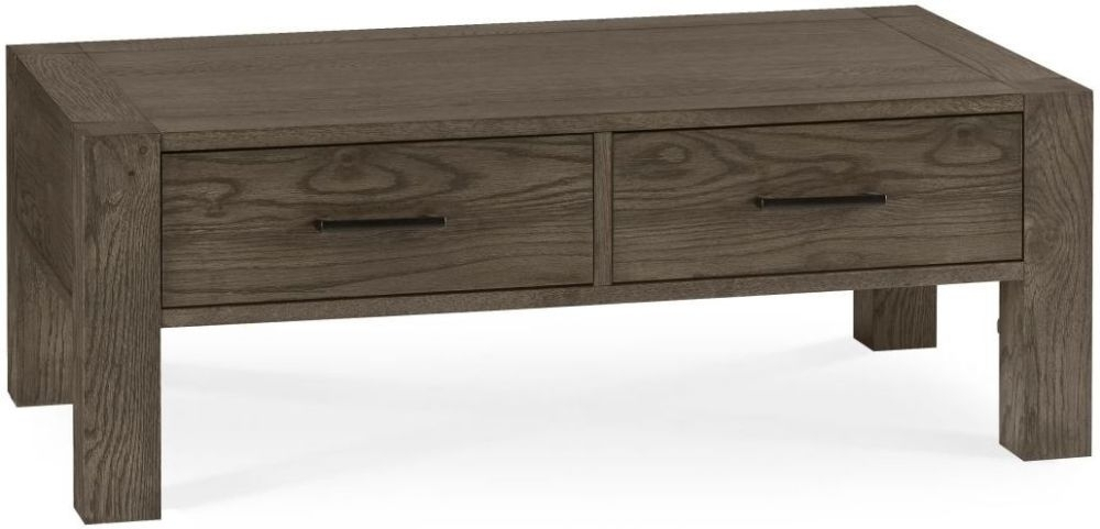 Buy Bentley Designs Turin Dark Oak 2 Drawer Storage Coffee Table Inside Natural 2 Drawer Shutter Coffee Tables (Image 9 of 40)