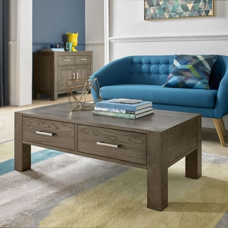 Buy Bentley Designs Turin Dark Oak 2 Drawer Storage Coffee Table Intended For Natural 2 Drawer Shutter Coffee Tables (Image 10 of 40)