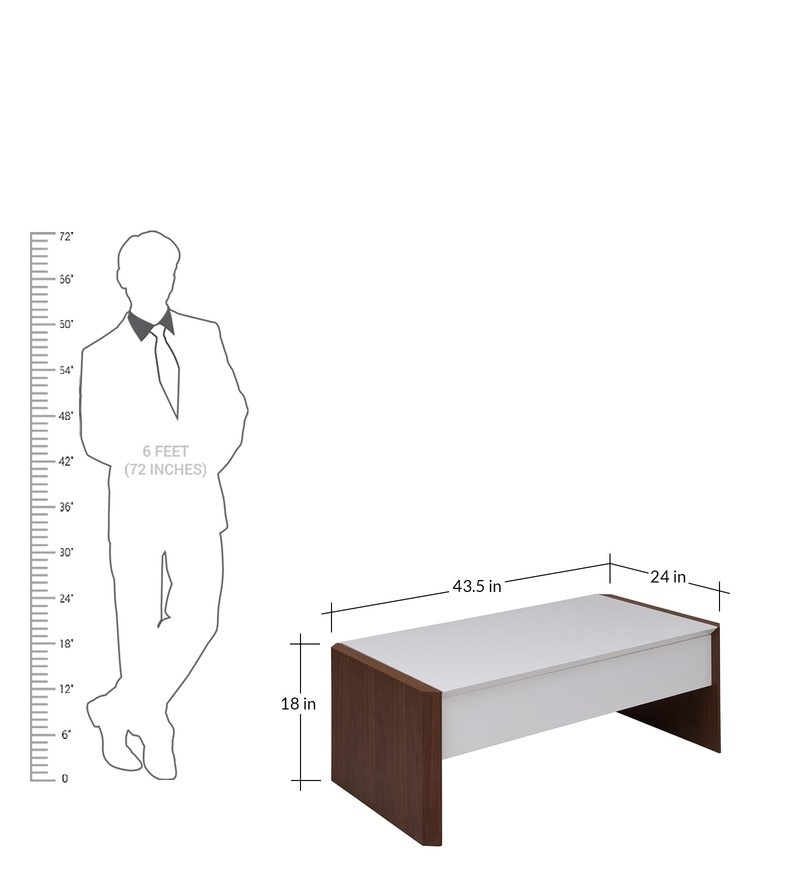 Buy Calix Retractable Coffee Table In White & Walnut Finishevok Intended For Walnut Finish 6 Drawer Coffee Tables (View 27 of 40)