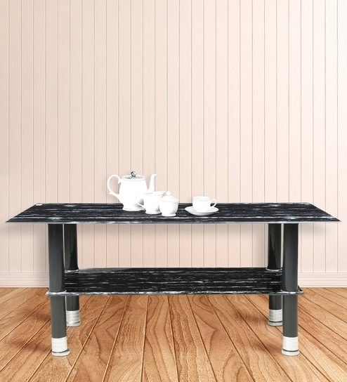 Buy Center Table With Rectangular Glass Top In Black Marble Stone Pertaining To Rectangular Brass Finish And Glass Coffee Tables (View 35 of 40)