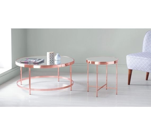 Buy Collection Round Glass Top Coffee Table – Copper Plated At Argos Inside Jaxon Grey Lift Top Cocktail Tables (View 14 of 40)