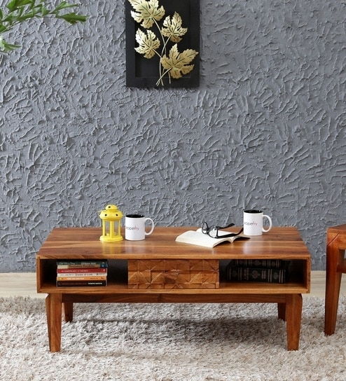 Buy Lennart Solid Wood Coffee Table In Vintage Walnut Finish In Vintage Wood Coffee Tables (Image 5 of 40)