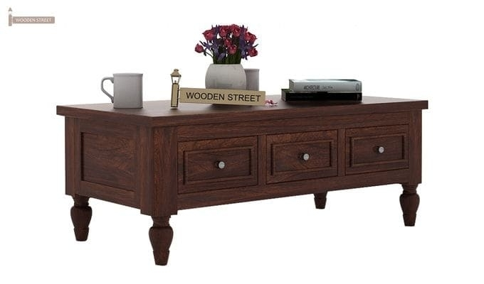Buy Maisie 6 Drawer Tea Table (Walnut Finish) Online In India Inside Walnut Finish 6 Drawer Coffee Tables (Image 11 of 40)