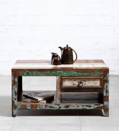 Buy Tynisha Solid Wood Coffee Table In Distress Finishbohemiana Regarding Natural 2 Drawer Shutter Coffee Tables (View 10 of 40)