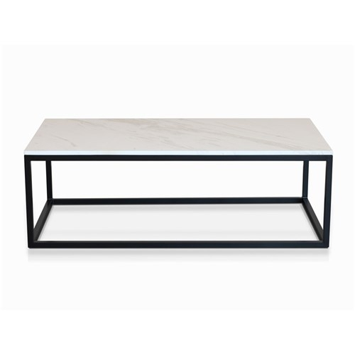 Byron Coffee Table Black With White Faux Marble | James Lane – With Marble Coffee Tables (Image 7 of 40)