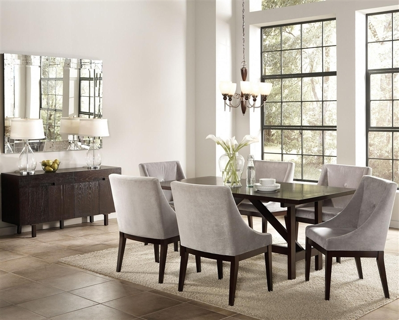 Candice 7 Pc Dining Table Set In Cappuccino Finishcoaster – 102230 Pertaining To Candice Ii Lift Top Cocktail Tables (Image 9 of 40)