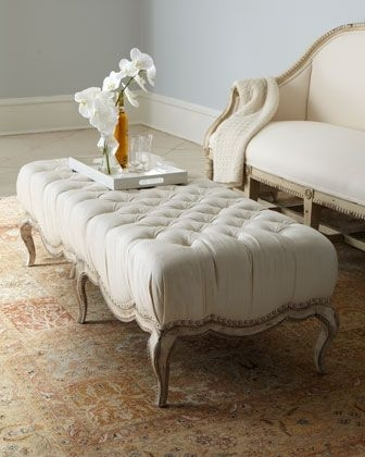 Caracole Milania Tufted Ottoman | Tufted Ottoman, Ottomans And Regarding Round Button Tufted Coffee Tables (Image 6 of 40)