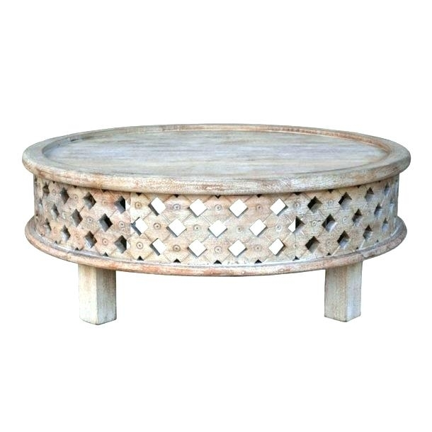 Carved Wood Coffee Table Round Wooden Raw Mango – Home Interior Design With Round Carved Wood Coffee Tables (Image 12 of 40)