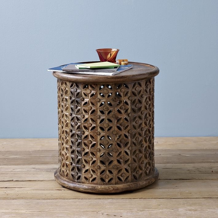 Carved Wood Side Table | West Elm In Round Carved Wood Coffee Tables (Image 17 of 40)