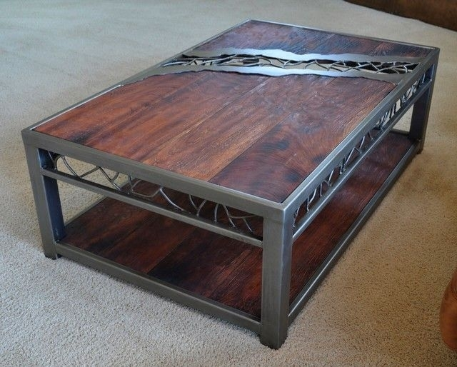 Catchy Rustic Wood And Iron Coffee Table Rustic Industrial Reclaimed Pertaining To Iron Wood Coffee Tables With Wheels (View 4 of 40)