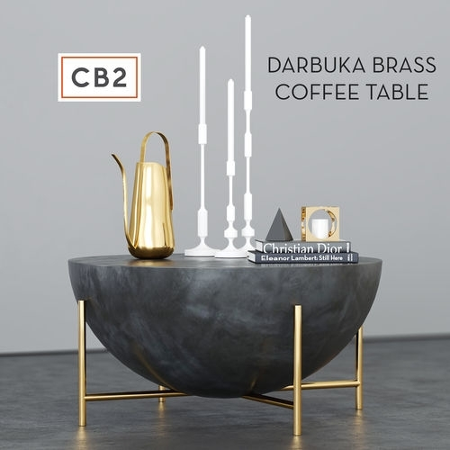 Cb2 Darbuka Brass Coffee Table 3D | Cgtrader For Darbuka Black Coffee Tables (View 3 of 40)