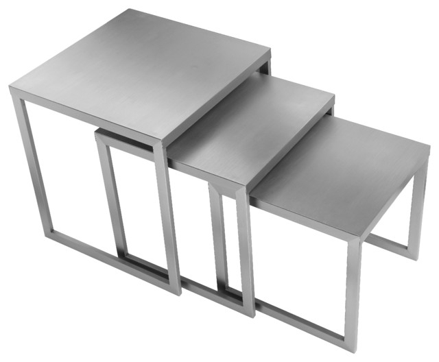 Century Nesting Side Tables, Brushed Metal, 3 Piece Set – Modern Pertaining To Set Of Nesting Coffee Tables (View 28 of 40)
