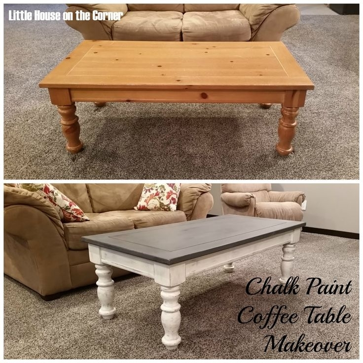 Chalk Paint Coffee Table Makeover | Furniture | Pinterest With Round White Wash Brass Painted Coffee Tables (Image 6 of 40)