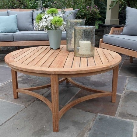 Charming Round Teak Coffee Table With Teak Outdoor Tables Berwick In Round Teak Coffee Tables (Image 3 of 40)