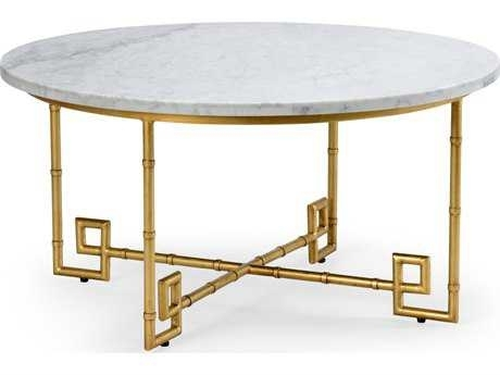 Chelsea House Bamboo Gold Leaf With White Marble 36'' Wide Round With Regard To Gold Leaf Collection Coffee Tables (Image 5 of 40)