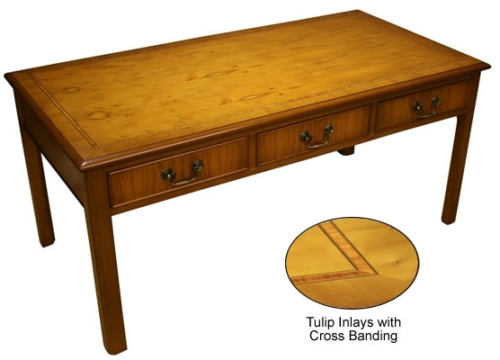 Chippendale Coffee And Lamp Tables – Yew And Mahogany – A1 Furniture For Walnut Finish 6 Drawer Coffee Tables (Image 14 of 40)