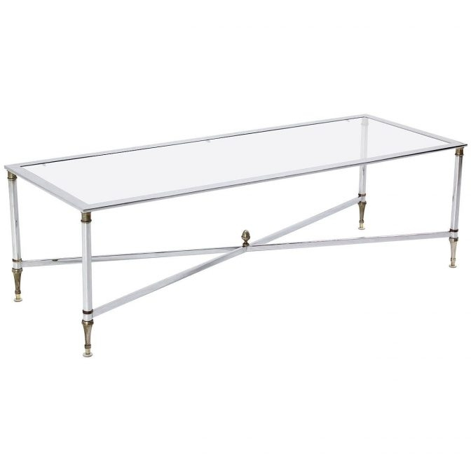 Chrome Brass X Base Glass Top Long Rectangle Coffee Table Pertaining To Rectangular Brass Finish And Glass Coffee Tables (Image 6 of 40)