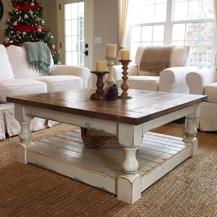 Chunky Farmhouse Coffee Table Pictures … | Furniture | Pinte… In White Wash 2 Drawer/1 Door Coffee Tables (Image 11 of 40)