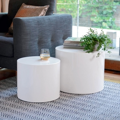 Circular Gloss Stacking Side Tables White – Dwell Within Stack Hi Gloss Wood Coffee Tables (View 29 of 40)