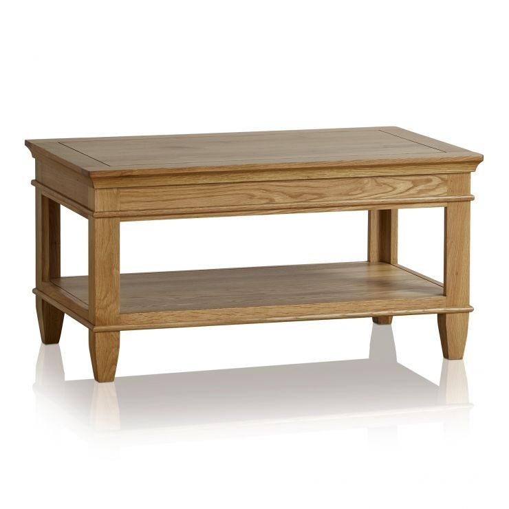 Classic Coffee Table In Natural Solid Oak | Oak Furniture Land Intended For Natural 2 Drawer Shutter Coffee Tables (Image 17 of 40)