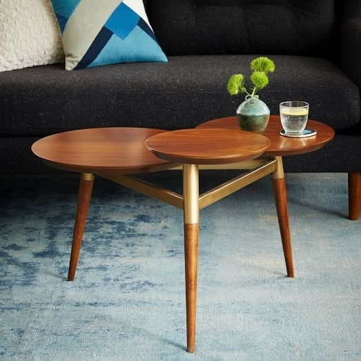 Clover Coffee Table – Walnut/antique Brass | Contemporary Mid Pertaining To Antique Brass Coffee Tables (Image 13 of 40)