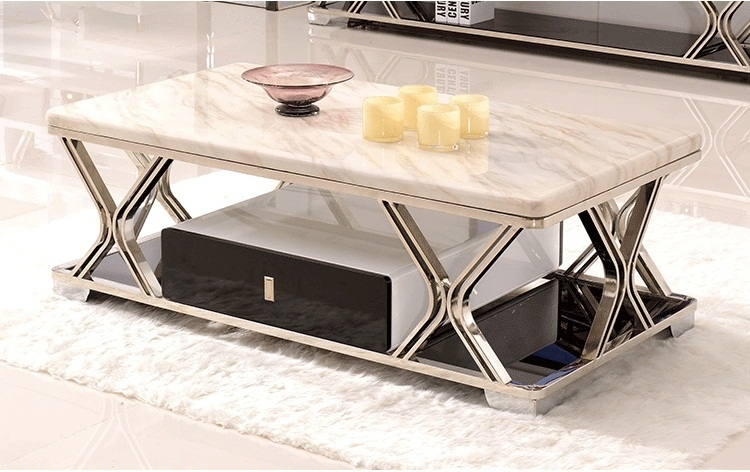Coffee Table: Amazing Round And Square Marble Coffee Table Marble With Slab Small Marble Coffee Tables With Antiqued Silver Base (Image 9 of 40)