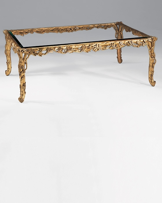 Coffee Table And Carved Wood In Gold Leaf Coffee Table Intended For Rectangular Brass Finish And Glass Coffee Tables (View 17 of 40)