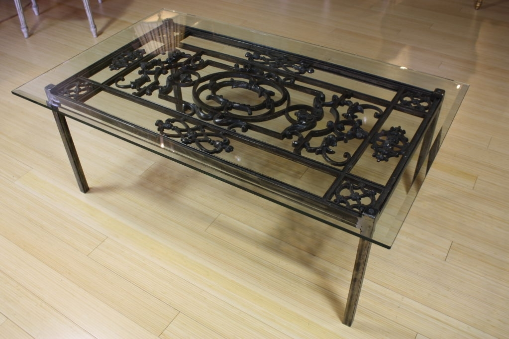 Coffee Table: Best Professionally Designed Wrought Iron Glass Coffee For Reclaimed Pine & Iron Coffee Tables (View 11 of 40)