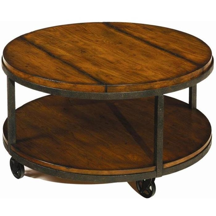 Coffee Table: Large Round Coffee Table With Wheels Coffee Table With With Regard To Iron Wood Coffee Tables With Wheels (View 6 of 40)
