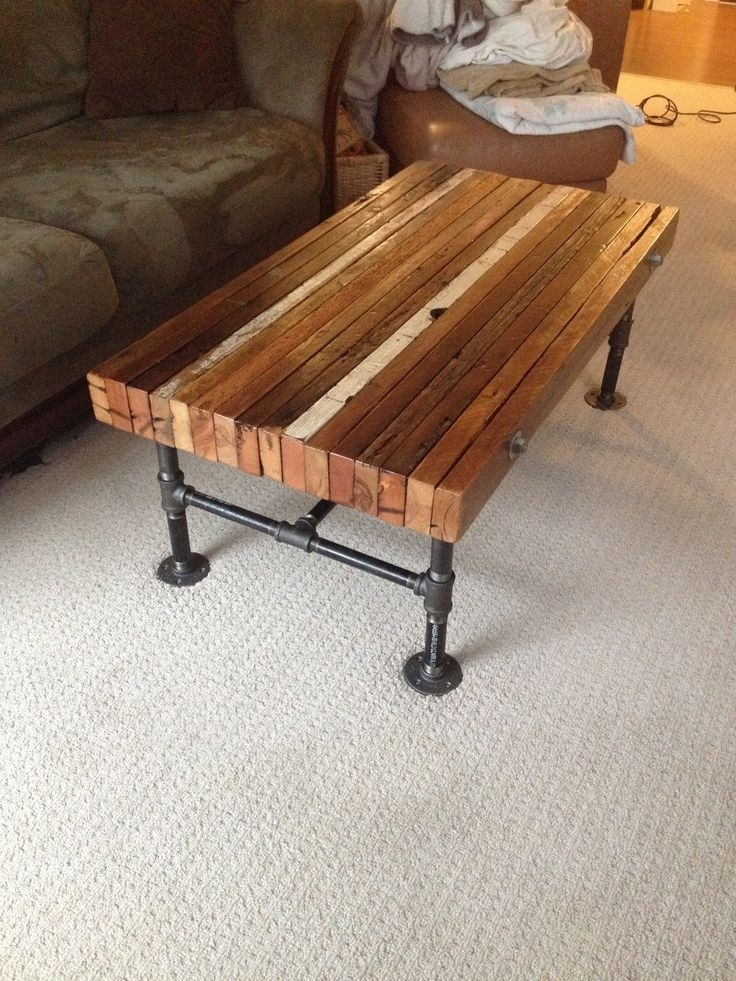 Coffee Table Made From Old 2X4S And Black Iron Pipe | { Muebles In Pine Metal Tube Coffee Tables (Photo 4 of 40)