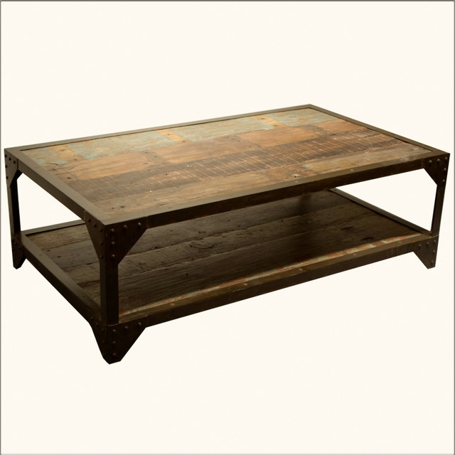 Coffee Table: Metal And Wood Coffee Table Diy Rustic Wood And Metal Regarding Iron Wood Coffee Tables With Wheels (View 2 of 40)