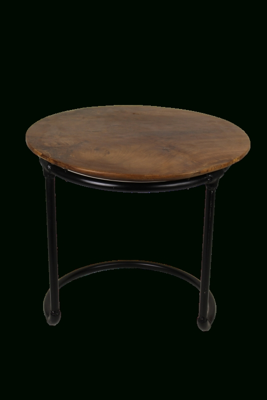 Coffee Table – Natural Wax/black – Metal/teak – Small Furniture For Waxed Metal Coffee Tables (Image 5 of 40)