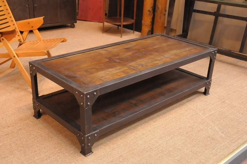 Coffee Table: Outstanding Industrial Coffee Tables Industrial Style In Iron Wood Coffee Tables With Wheels (View 5 of 40)